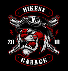 Tiger biker with spark plugs vector