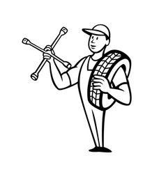 Tire technician or tyre mechanic with socket vector