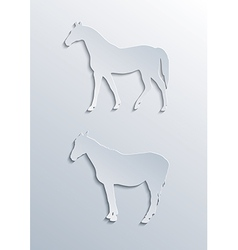 two horses silhouettes vector image
