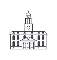 University building thin line icon concept vector