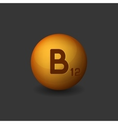 Vitamin B12 Orange Glossy Sphere Icon on Dark vector image