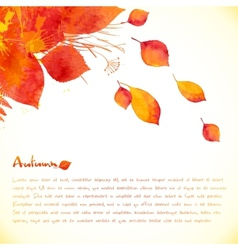 Watercolor painted autumn leaves background vector