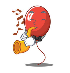 With trumpet balloon character cartoon style vector