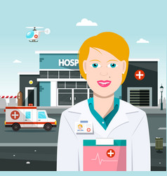 woman doctor with hospital on background with vector image