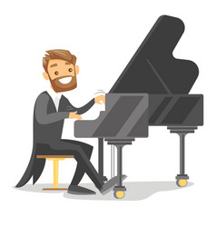Young caucasian white man playing piano vector