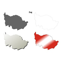 Zug blank detailed outline map set vector