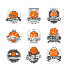 basketball competitions emblems set vector image