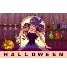 Beautiful pretty witch girl pours cocktails vector