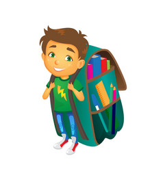 boy with big school bag stands smiling vector image vector image