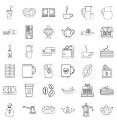 chocolate icons set outline style vector image vector image