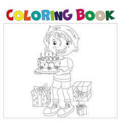 coloring book of cartoon boy with cake a gifts at vector image