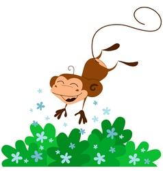 cute jumping monkey vector image vector image