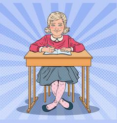 pop art schoolgirl sitting at school desk vector image vector image