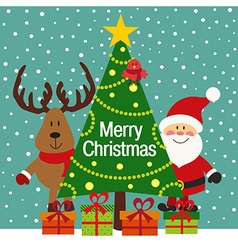 Christmas greeting card with Santa and deer vector image vector image