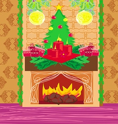 Christmas room with fireplace vector image