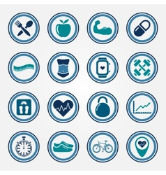 Fitness and health colorful flat icons set vector image