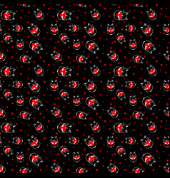 seamless pattern with cat with heart vector image vector image