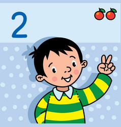 Boy showing two by hand counting education card 2 vector