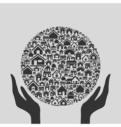Hand the house3 vector image vector image