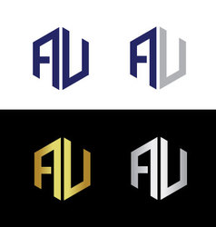 Initials with letter A and letter V vector image vector image