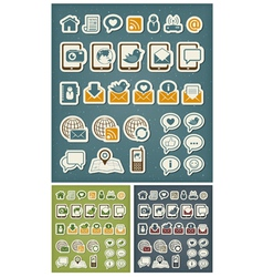 Internet communication icons vector image vector image