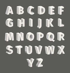 isometric font set isolated on grey background vector image