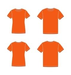 Orange short sleeve t-shirts templates vector image