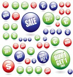 sale buttons collection vector image vector image