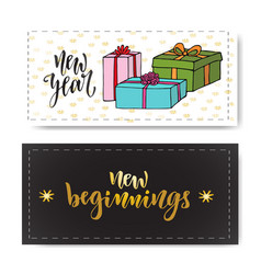 set of hand drawn new year banners handwritten vector image vector image