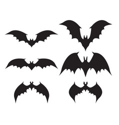 silhouette of bat with big wings vector image
