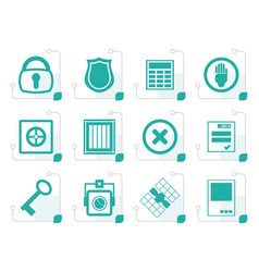 Stylized simple security and business icons vector