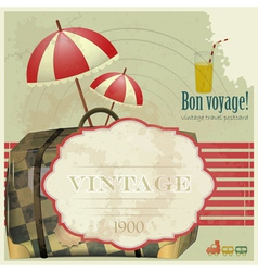 vintage travel postcard vector image vector image