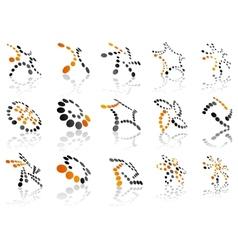 Orange and black 3d symbols vector image
