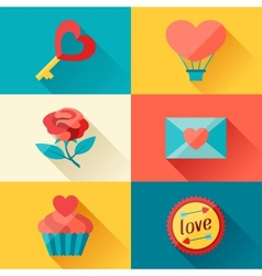Valentines and Wedding background in flat design vector image vector image