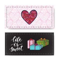 Valentines day banners with gifts and modern vector