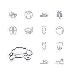 13 beach icons vector