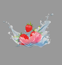 3d ripe fresh strawberry in water splash vector image