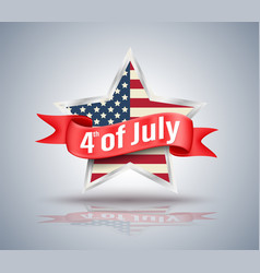 4th july red ribbon with usa star vector image