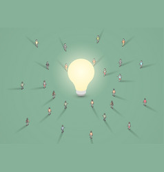 a group people walking to a light bulb vector image