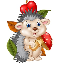 Adorable baby hedgehog holding mushroom vector