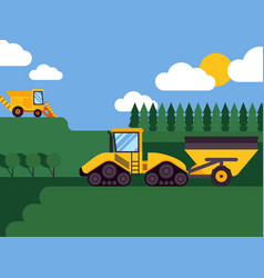 agricultural combine harvester seasonal farming vector image