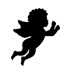 angel silhouette character icon vector image