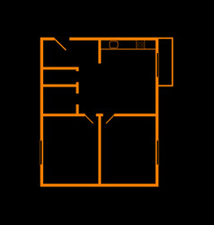 apartment house floor plans orange icon on black vector image vector image