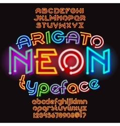 Arigato color neon typeface vector image