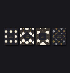 Art deco luxury greeting card background set vector