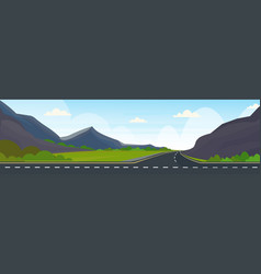 asphalt highway road and beautiful mountains vector image