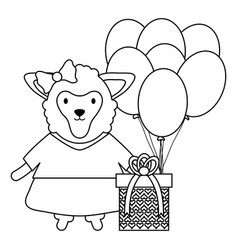 beautiful lamb with gift box and balloon helium in vector image