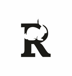 black r letter with rabbit inside logo vector image