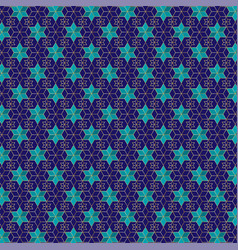 Blue and gold jewish star pattern vector