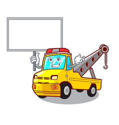 bring board cartoon tow truck isolated on rope vector image